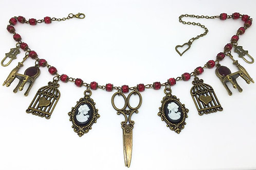 Red Beaded Vintage Charm Necklace