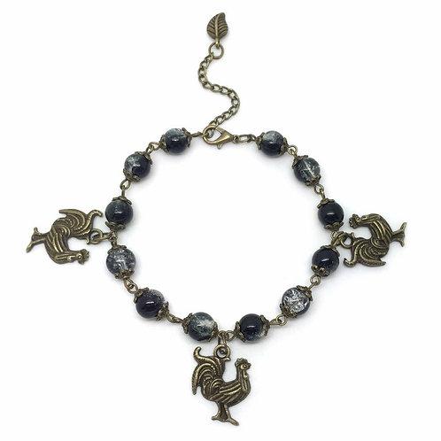 Black Bead Chicken Cockerel Charm Bracelet
