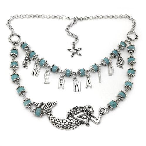 Turquoise Boho Mermaid Charm Necklace