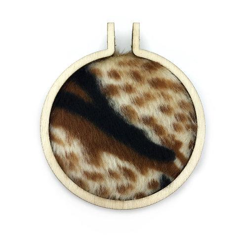 Furry Animal Print Fabric Hoop Necklace