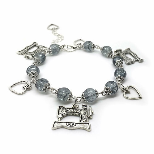 Grey Sewing Machine Charm Bracelet