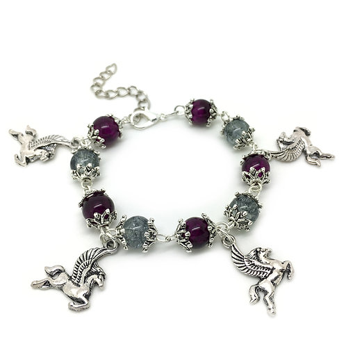 Children's Winged Horse Purple Charm Bracelet