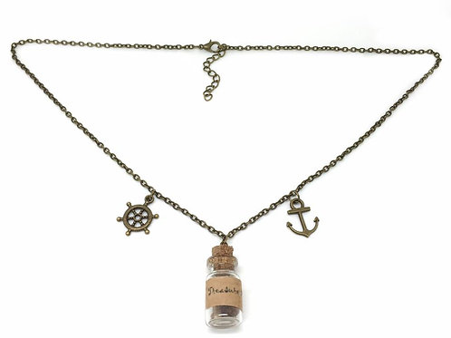 Small Bottled Treasure Map Pirate Necklace