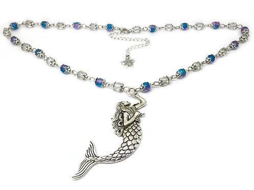 Ocean Blue Beaded Mermaid Necklace