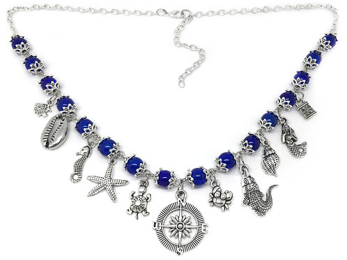 Ocean Blue Nautical Pirate Charm Necklace