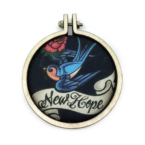 Swallow Tattoo & Rose New Hope Fabric Necklace
