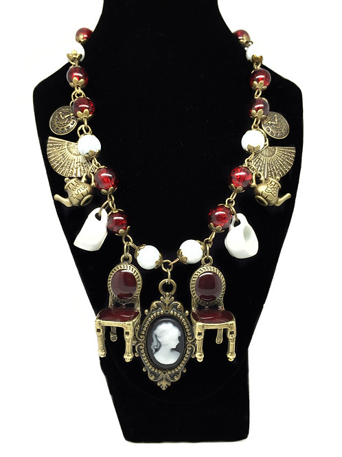Deep Red Steampunk Tea Duel Necklace