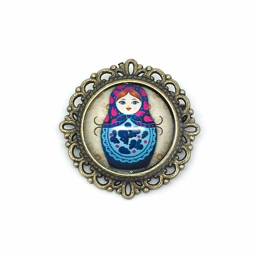 Pink & Blue Russian Doll Cameo Brooch