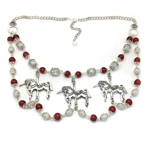 Unicorn Carousel Fairground Statement Necklace