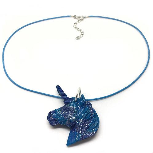 Blue Glitter Unicorn Necklace