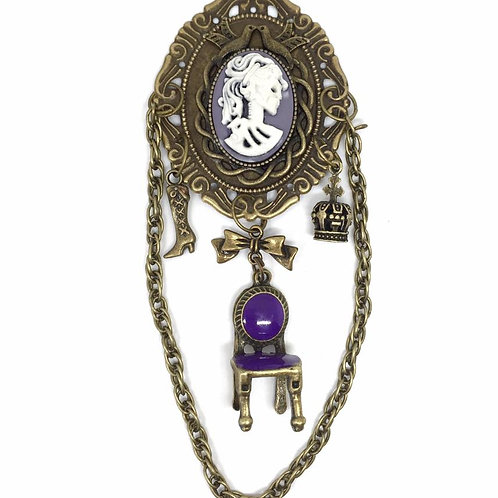 Purple Steampunk Victorian Lady Brooch