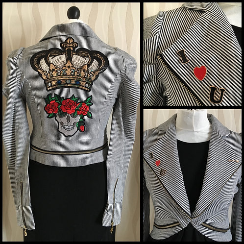 Skull & Crown Embellished Ladies Jacket