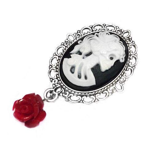"""Love You To Death"" Red Rose Skull Brooch"
