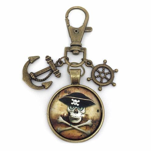 Skull & Crossbones Pirate Hat Key Ring