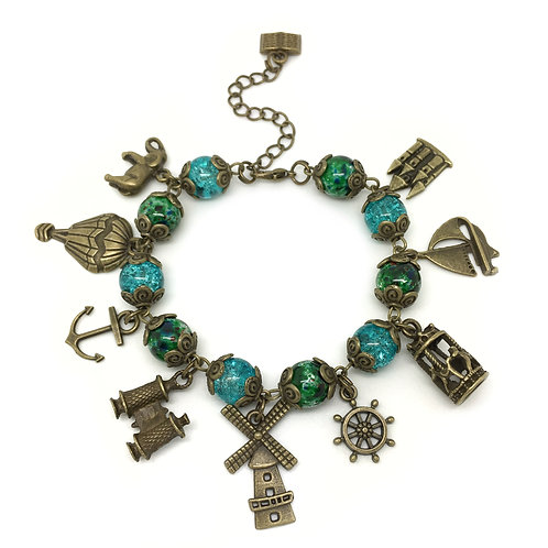 Around The World Steampunk Charm Bracelet