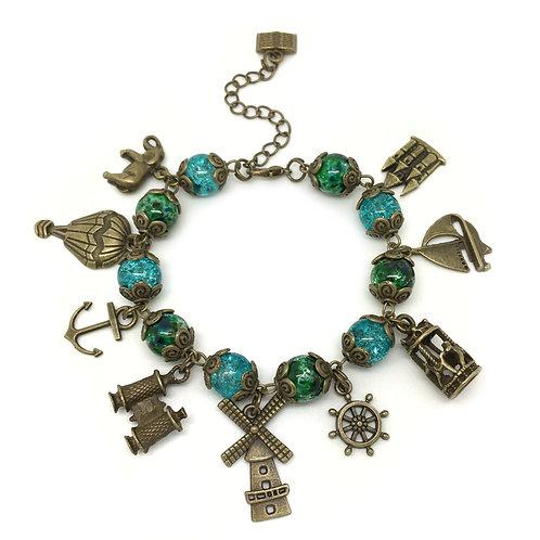 Around The World Steampunk Charm Bracelet