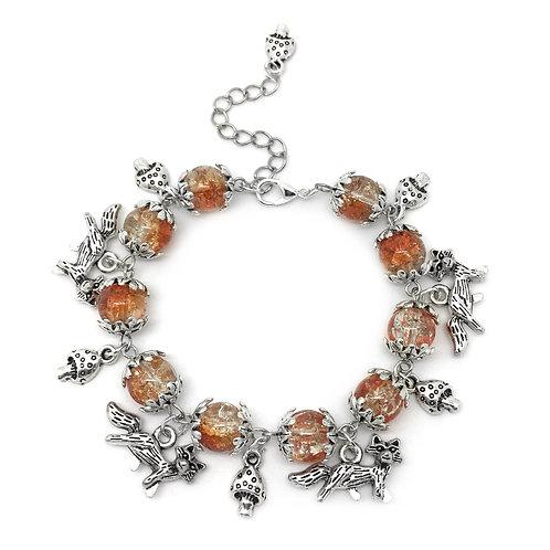 Fox & Toadstool Autumn Charm Bracelet