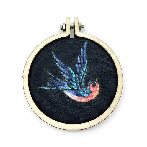 Rockabilly Swallow Fabric Hoop Necklace