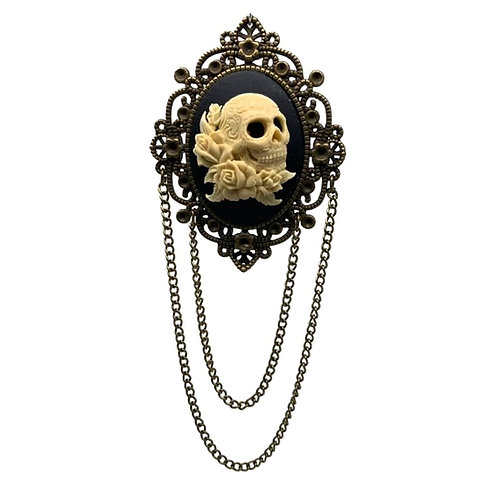 Skull & Roses Bronze Chains Cameo Brooch
