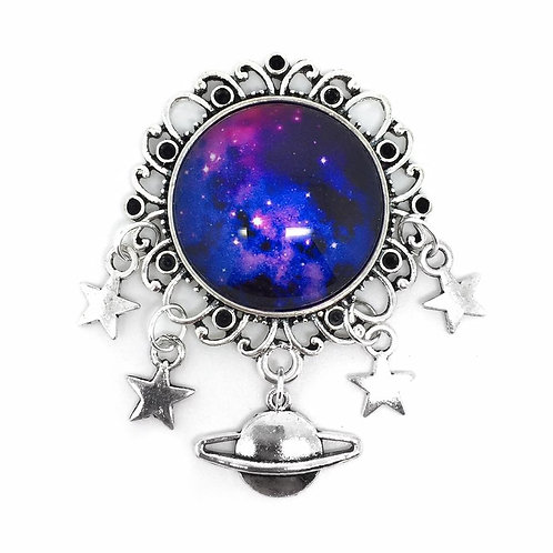 Purple Galaxy Star & Planet Charm Brooch
