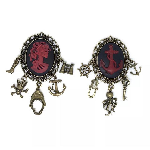 Pair of Large Pirate Skull Charm Brooches