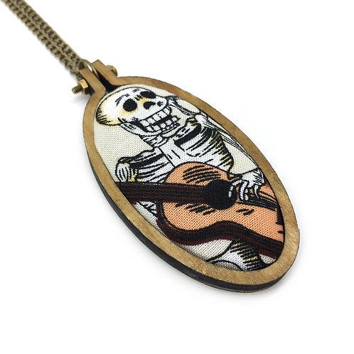 Fiesta De Los Muertos Guitar Fabric Oval Necklace