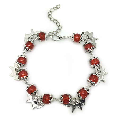 Orange Fox Beaded Charm Bracelet