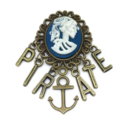 Blue Pirate Wench Cameo Brooch