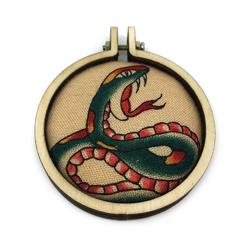 Vintage Snake Tattoo Fabric Necklace