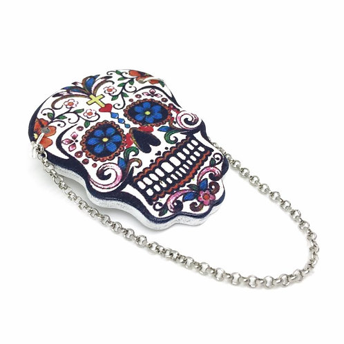 Large Sugar Skull Chain Brooch