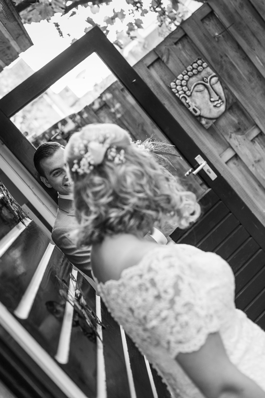 Bruidsfoto van de First Look