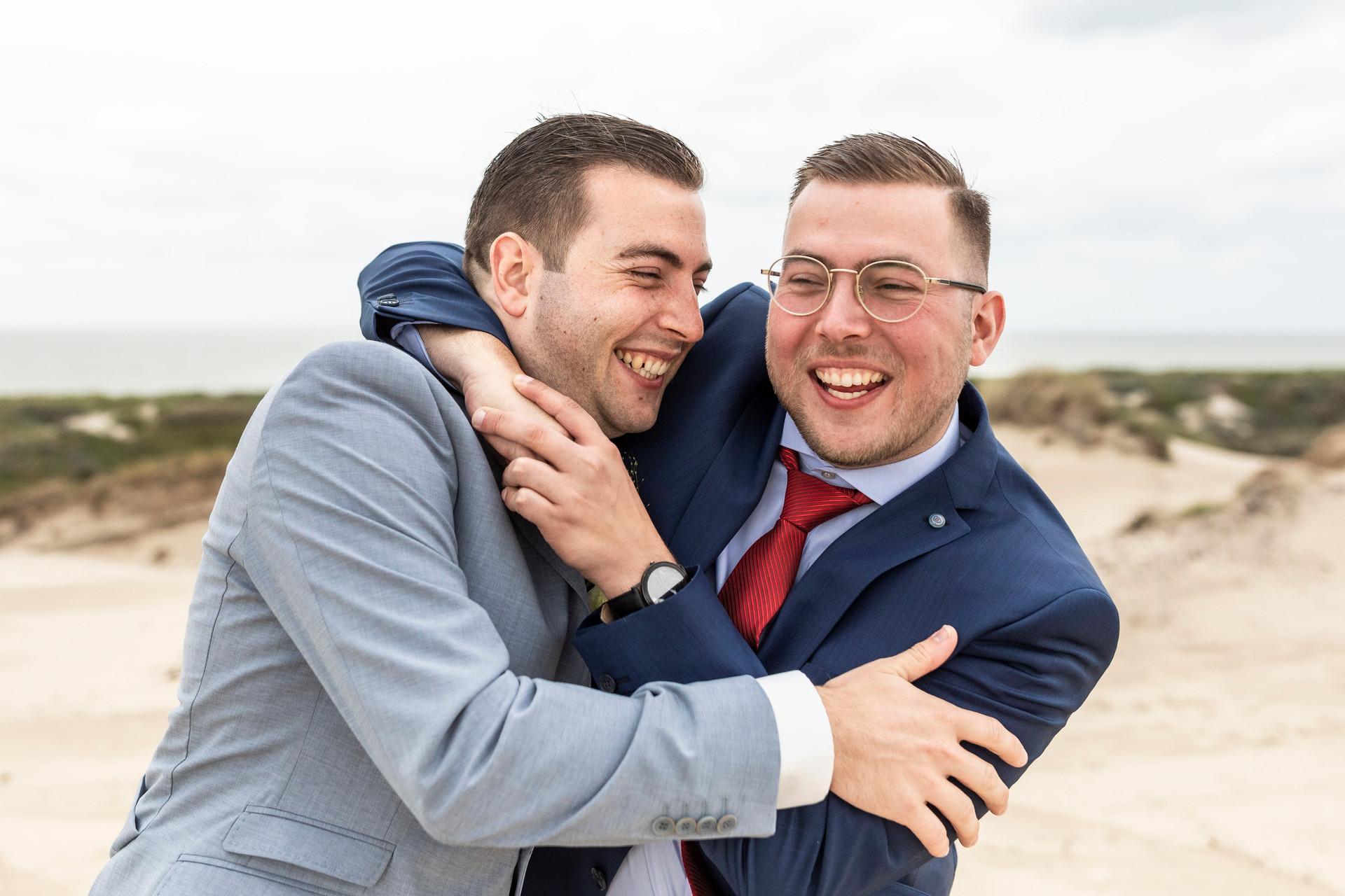 Bruiloft foto stoute broers