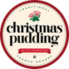 traditional christmas pudding with cherries and french brandy