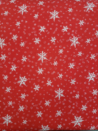 Gnoming Through the Snow Red Snowflake fabric by the yard