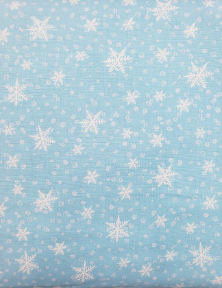 Gnoming Through the Snow Blue Snowflake fabric by the yard
