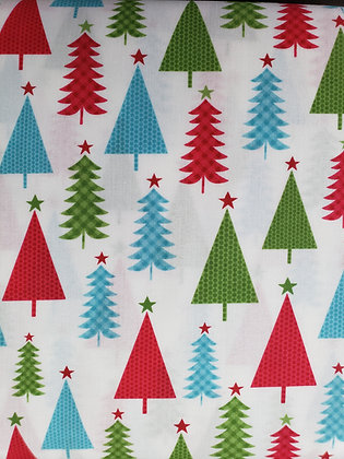 First Frost Multi-Color Trees fabric by the yard