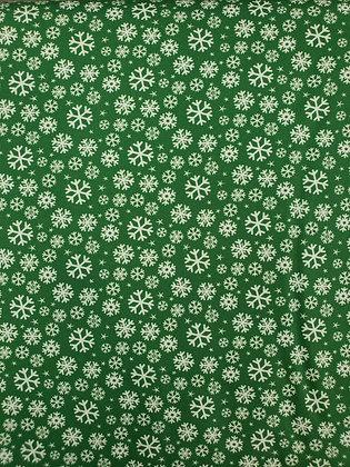 Jolly Season Green Snowflakes fabric by the yard