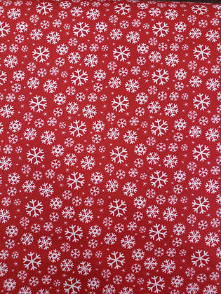 Jolly Season Red Snowflake fabric by the yard