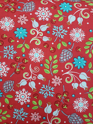 First Frost Red Floral fabric by the yard