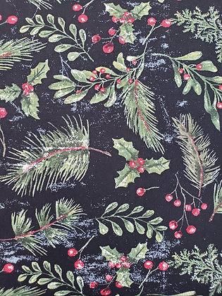 Yuletide Black Pine fabric by the yard