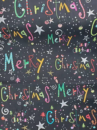 Whimsical Merry Christmas (choose black or white) fabric by the yard