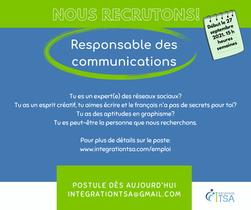EMPLOI: Responsable des communications