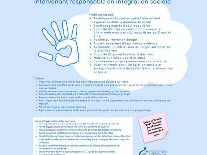EMPLOI: Intervenant(e) responsable en intégration recherché(e)