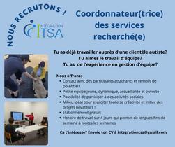 EMPLOI: Coordonnateur(trice) des services recherché(e)