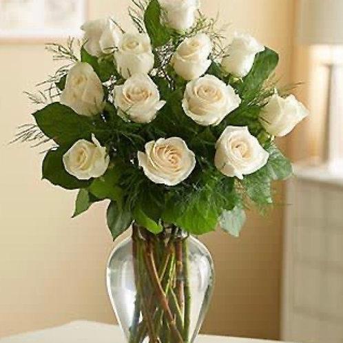 """""""Akito"""" White Roses One dozen"""