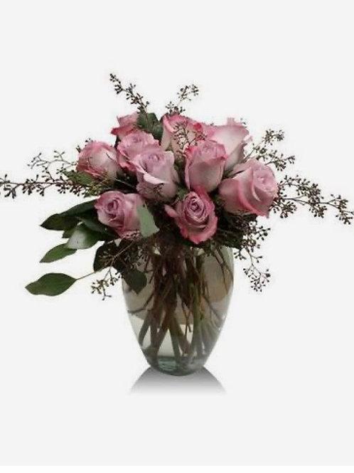 "Faythe"" Light Pink Roses 1 Dozen in Clear Vase"