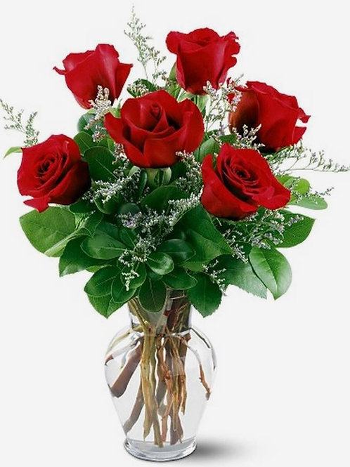 """""""Red France"""" Roses Six Stems"""