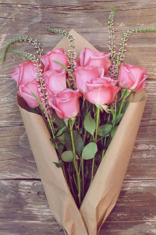 """""""Sweet Unique"""" Hot Pink Roses Wrapped No Vase"""