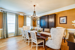 formal dining room, transitional dining room, grasscloth wallpaper, custom window treatments