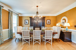 formal dining room, transitional dining room, grasscloth wallpaper